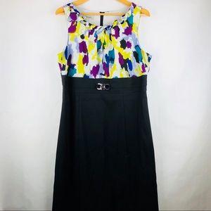 Dressbarn Sleeveless Black Multi Color Dress